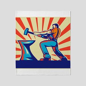 blacksmith striking hammer Throw Blanket