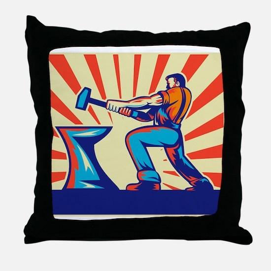 blacksmith striking hammer Throw Pillow
