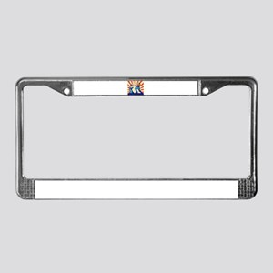 blacksmith striking hammer License Plate Frame