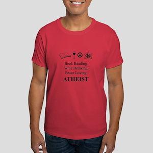 Book Wine Peace Atheist Dark T-Shirt