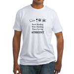 Book Wine Peace Atheist Fitted T-Shirt