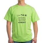 Book Wine Peace Atheist Green T-Shirt