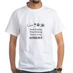 Book Wine Peace Atheist White T-Shirt
