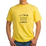 Book Wine Peace Atheist Yellow T-Shirt