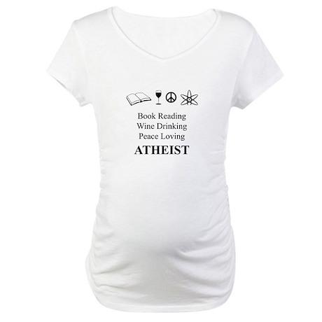 Book Wine Peace Atheist Maternity T-Shirt