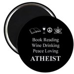 Book Wine Peace Atheist Magnet