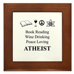 Book Wine Peace Atheist Framed Tile