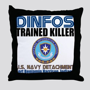 DINFOS Navy Throw Pillow
