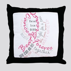 Beat Breast Cancer Typography Throw Pillow