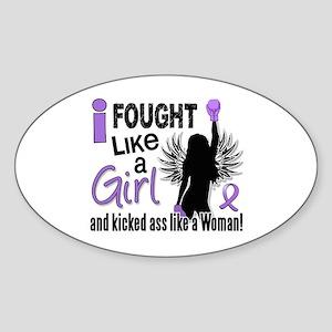 Fought Like A Girl Hodgkin's Lymphoma Sticker (Ova