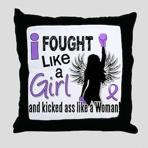 Fought Like A Girl Hodgkin's Lymphoma Throw Pillow