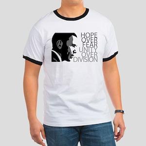 Obama - Hope Over Fear - Grey Ringer T