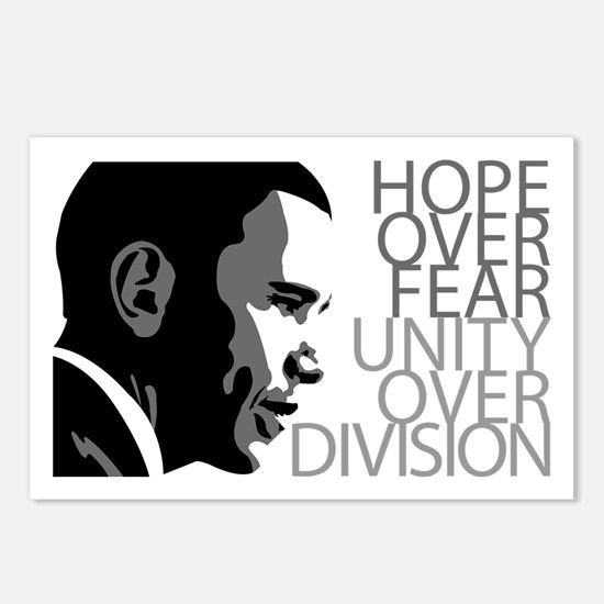 Obama - Hope Over Fear - Grey Postcards (Package o