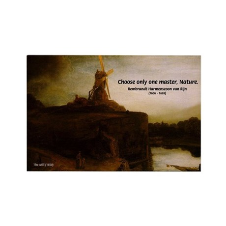 Rembrandt Painting & Quote Rectangle Magnet