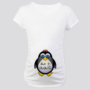 Cute Penguin August Baby Maternity T-Shirt