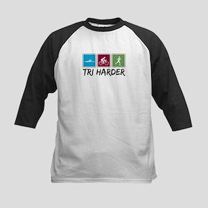 Tri Harder (Thiathlon) Kids Baseball Jersey
