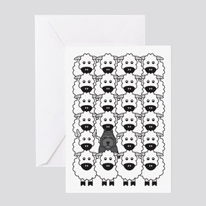 Bouvier and Sheep Greeting Card