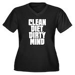 Clean Diet..... Women's Plus Size V-Neck Dark T-Sh