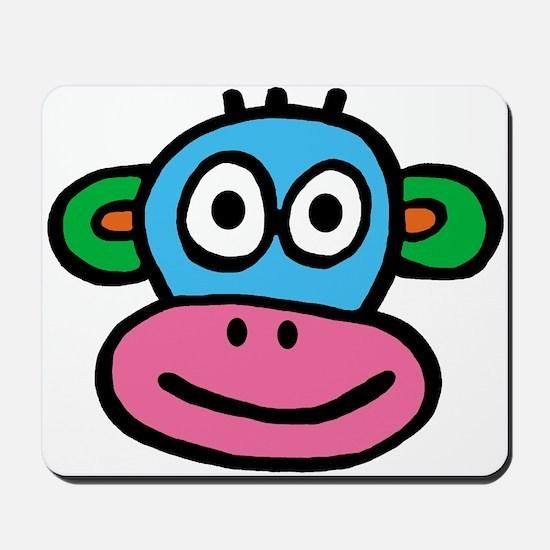 Pink Blue Monkey Mousepad