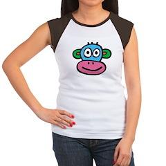 Pink Blue Monkey Women's Cap Sleeve T-Shirt