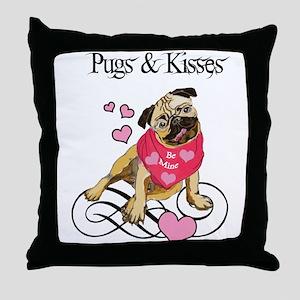 Pugs & Kisses Valentine Throw Pillow