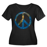 World Peace Women's Plus Size Scoop Neck Dark T-Sh