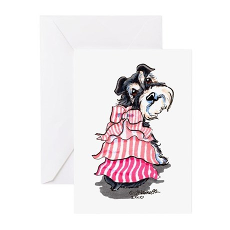 Girly Schnauzer Greeting Cards (Pk of 10)
