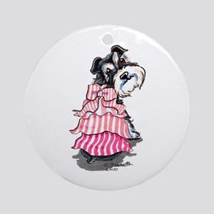 Girly Schnauzer Ornament (Round)