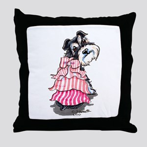 Girly Schnauzer Throw Pillow