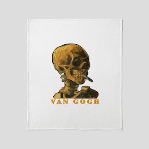 Van Gogh Skull Throw Blanket