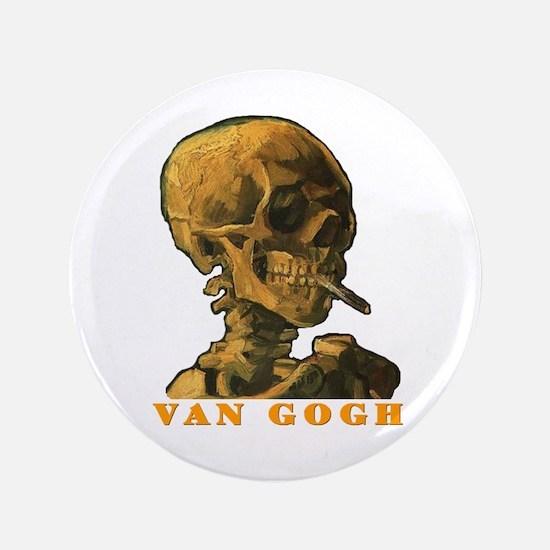 "Van Gogh Skull 3.5"" Button"