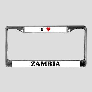 I Love Zambia License Plate Frame