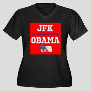JFK as hot as OBAMA Women's Plus Size V-Neck Dark