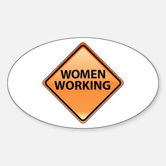 Women Working Sticker (Oval)