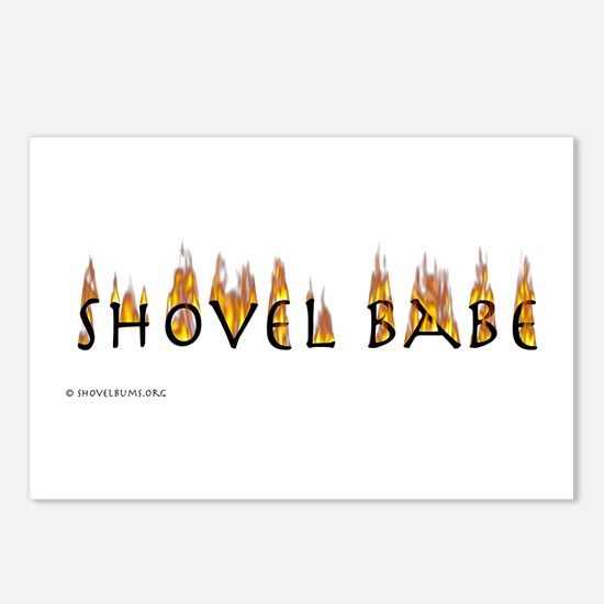 Shovel Babe - flames Postcards (Package of 8)