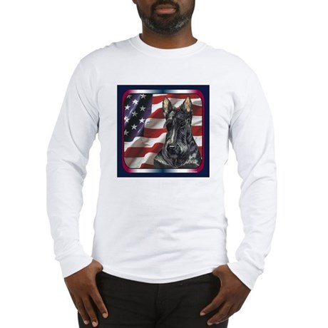 Scottish Terrier Scotty US Flag Long Sleeve T-Shir