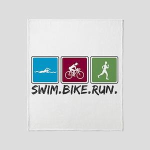 Swim Bike Run Throw Blanket