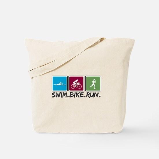 Swim Bike Run Tote Bag