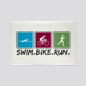 Swim Bike Run Rectangle Magnet