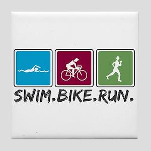 Swim Bike Run Tile Coaster