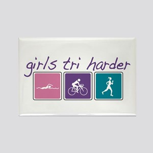 Girls Tri Harder Rectangle Magnet