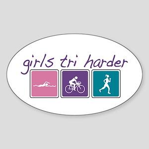 Girls Tri Harder Sticker (Oval)