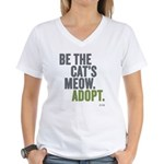 Be The Cat's Meow, Adopt Women's V-Neck T-