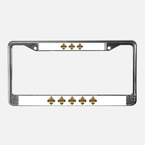 Masked Fleur de lis License Plate Frame