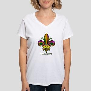 Masked Fleur de lis Women's V-Neck T-Shirt
