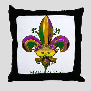 Masked Fleur de lis Throw Pillow