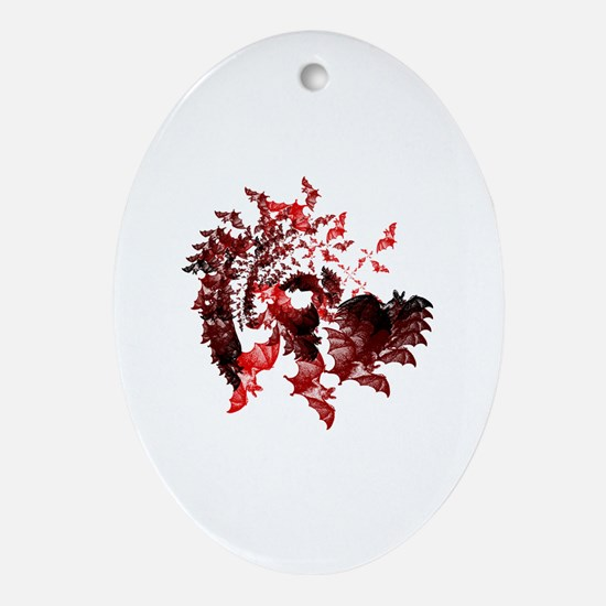 Fibonacci Bats Red Ornament (Oval)