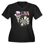USA Darts Women's Plus Size V-Neck Dark T-Shirt