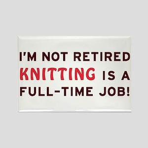 Retired Knitting Gag Gift Rectangle Magnet