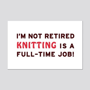 Retired Knitting Gag Gift Mini Poster Print